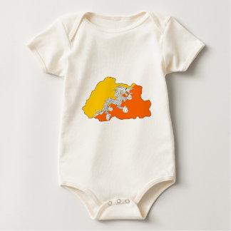 Bhutan flag map baby bodysuit