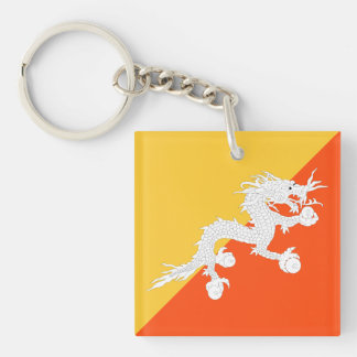 Bhutan Flag with Thunder Dragon Key Ring