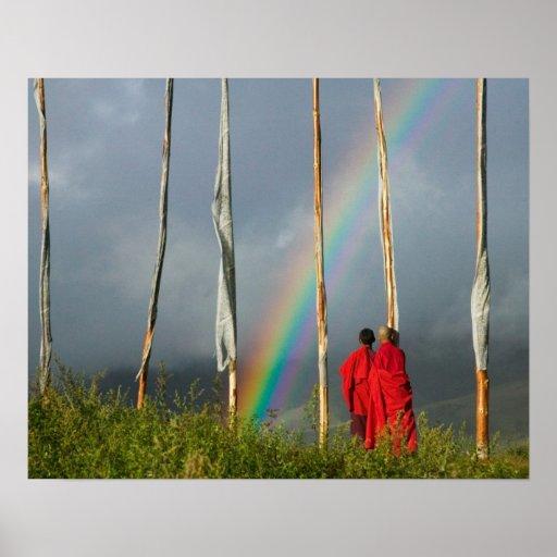 Bhutan, Gangtey village, Rainbow over two monks Print