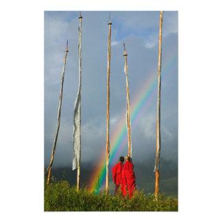 Bhutan, Gangtey village, Rainbow over two Art Photo