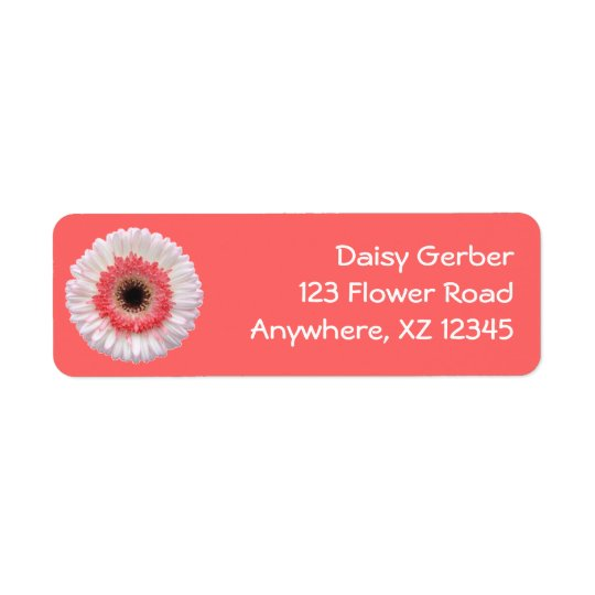 Bi-Colour Gerber Daisy Return Address Label