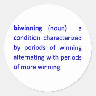 Bi-Winning Definition Round Sticker