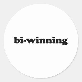 Bi-Winning Round Sticker