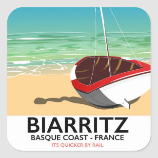 Biarritz France Beach travel poster Square Sticker