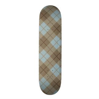 Bias Plaid in Blue and Brown 20 Cm Skateboard Deck