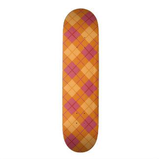 Bias Plaid in Orange and Pink Skate Board Decks