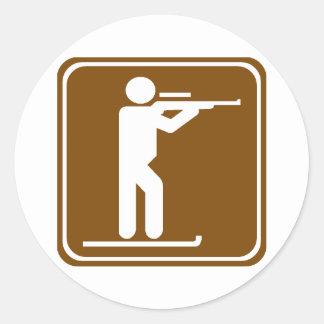 Biathlon Highway Sign Classic Round Sticker