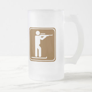 Biathlon Highway Sign Frosted Glass Beer Mug