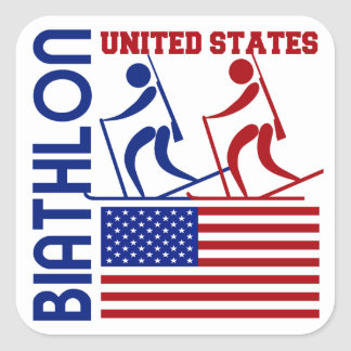 Biathlon United States Square Sticker