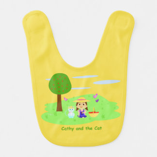 """Bib of """"Cathy and the Cat"""" with apples"""