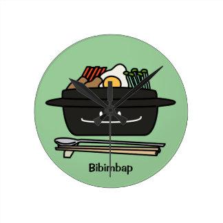 Bibimbap Korean rice bowl namul vegetables egg Round Clock