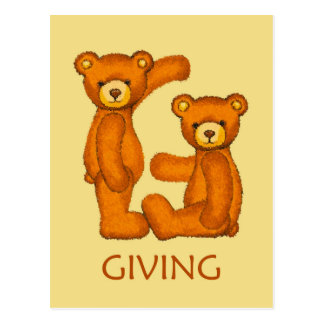 Bible Bears ~ Giving Scripture ~ Flashcards Postcard