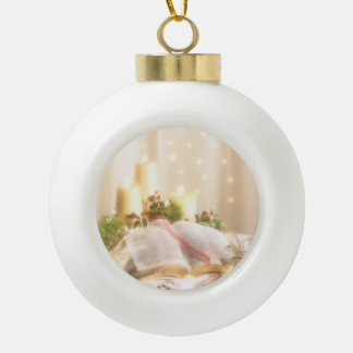 Bible, Candles and Holly - Ceramic Ball Christmas Ornament