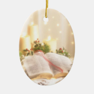 Bible, Candles and Holly - Ceramic Ornament