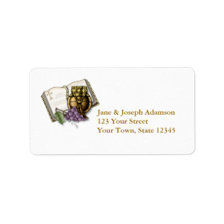 Bible, Chalice, Grapes, Communion Label