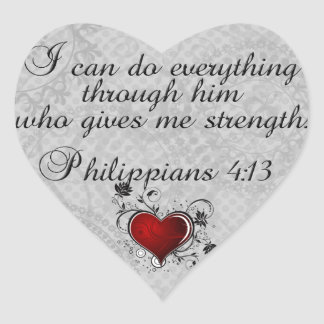 Bible Christian Verse Philippians 4:13 Heart Sticker
