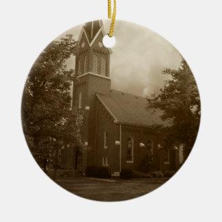 Bible Grove Church Round Ceramic Decoration