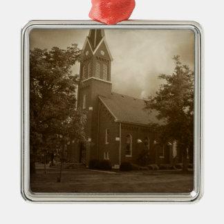 Bible Grove Church Silver-Colored Square Decoration