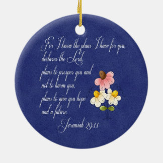 Bible Inspirational Verse  Jeremiah 29:11 Double-Sided Ceramic Round Christmas Ornament