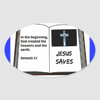 "Bible ""Jesus Saves"" Series: Genesis 1:1 Oval Sticker"