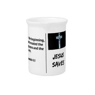 """Bible """"Jesus Saves"""" Series: Genesis 1:1 Pitcher"""