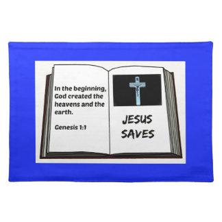 """Bible """"Jesus Saves"""" Series: Genesis 1:1 Placemat"""