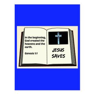 "Bible ""Jesus Saves"" Series: Genesis 1:1 Postcard"
