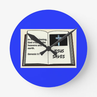"Bible ""Jesus Saves"" Series: Genesis 1:1 Round Clock"