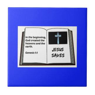 "Bible ""Jesus Saves"" Series: Genesis 1:1 Small Square Tile"