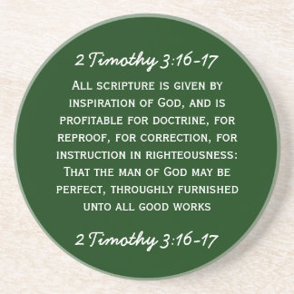 Bible passage 2 Timothy 3:16-17 in white text. Coaster