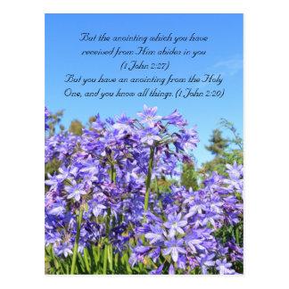 Bible passage, blue flowers & blue sky postcard