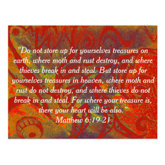 Bible Postcard Matthew 6:19-21 | Rust | Treasures