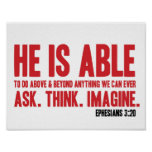 Bible Poster Ephesians 3:20 He Is Able - Christian