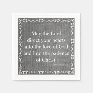 Bible Scripture Blessing - 2 Thessalonians 3:5 Disposable Napkin