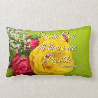 Bible Scripture Pink Yellow Roses Matthew 19:26 Lumbar Cushion