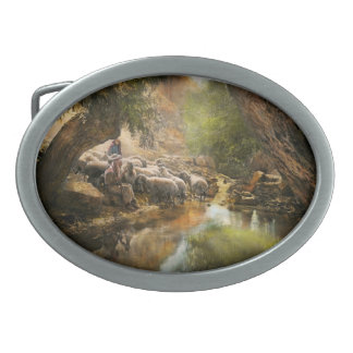 Bible - The Lord is my shepherd - 1910 Oval Belt Buckle
