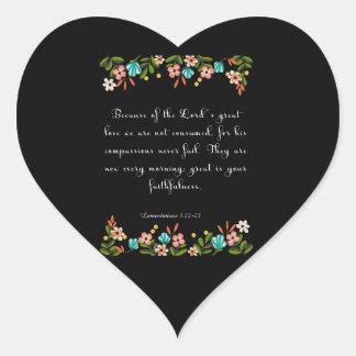 Bible Verse Art - Lamentation 3:22-23 Heart Sticker