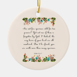 Bible Verse Art - Luke 12:6-7 Round Ceramic Decoration