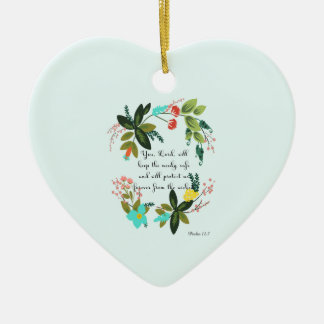 Bible Verse Art - Psalm 12:7 Double-Sided Heart Ceramic Christmas Ornament