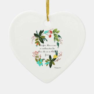 Bible Verse Art -  Romans 8:1 Ceramic Heart Decoration