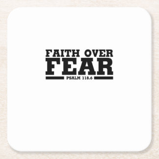 Bible Verse Christian Jesus Faith Over Fear Psalm Square Paper Coaster