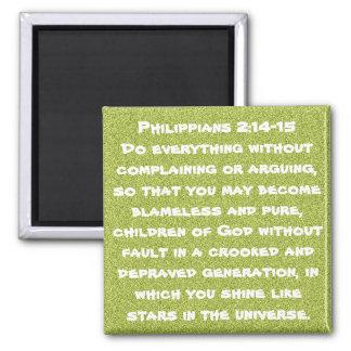 Bible verse encouragement Philippians 2:14-15 Square Magnet