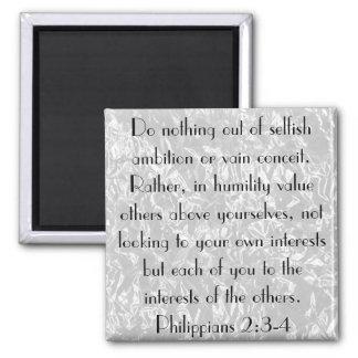 Bible Verse encouragement Philippians 2:3-4 Square Magnet