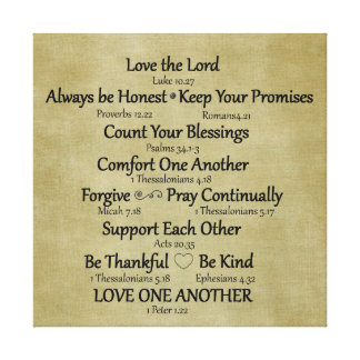 Bible Verse Family Rules Canvas Print
