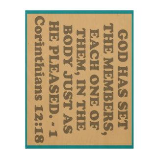 Bible verse from 1 Corinthians 12:18. Wood Wall Art