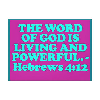 Bible verse from Hebrews 4:12. Canvas Print