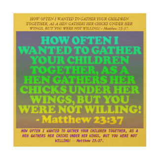 Bible verse from Matthew 23:37. Wood Print