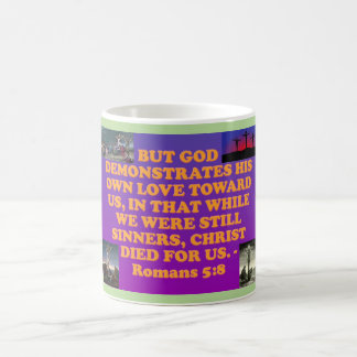 Bible verse from Romans 5:8. Coffee Mug