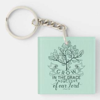 Bible Verse Grow in Grace Key Chain