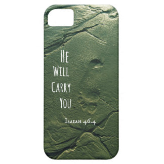 Bible Verse: He will Carry You with Footprints iPhone 5 Case